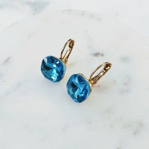 5 for $25 Gold Metal Blue Crystal Earrings